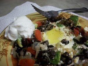 Southwestern Poached Eggs with Black Beans