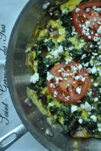 Roasted Kale Frittata with Tomato and Feta Cheese