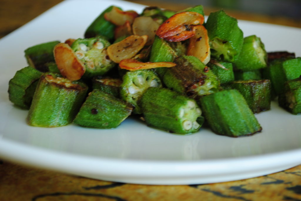 Pan Roasted OKra with Garlic