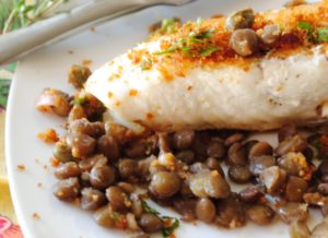 Pan Seared Halibut with Lentils and Bread Crumb Salsa