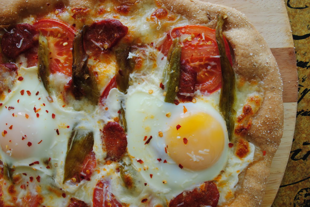 Breakfast Pizza with Linguica and Green Chile