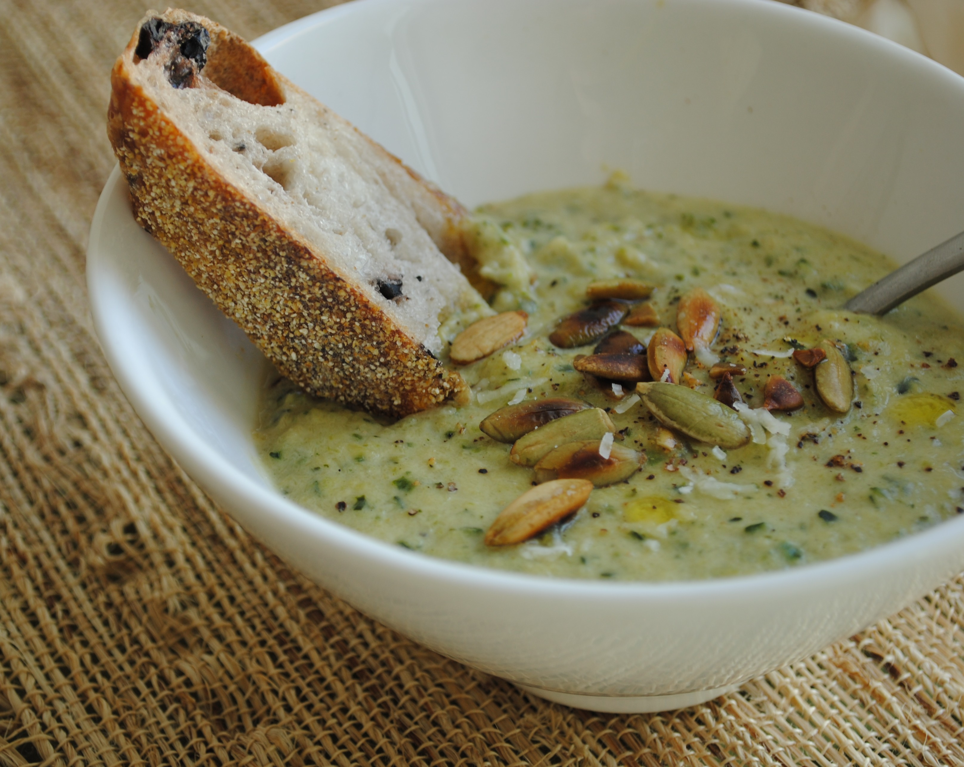 Parmigiano, Garlic and Zucchini Soup with Toasted Pumpkin Seeds