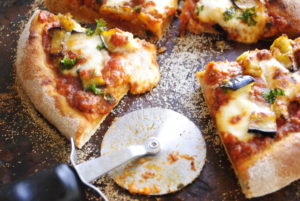 Eggplant and Bolognese Pizza
