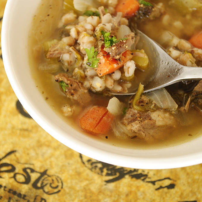 A most delicious vegetable beef soup with farro!