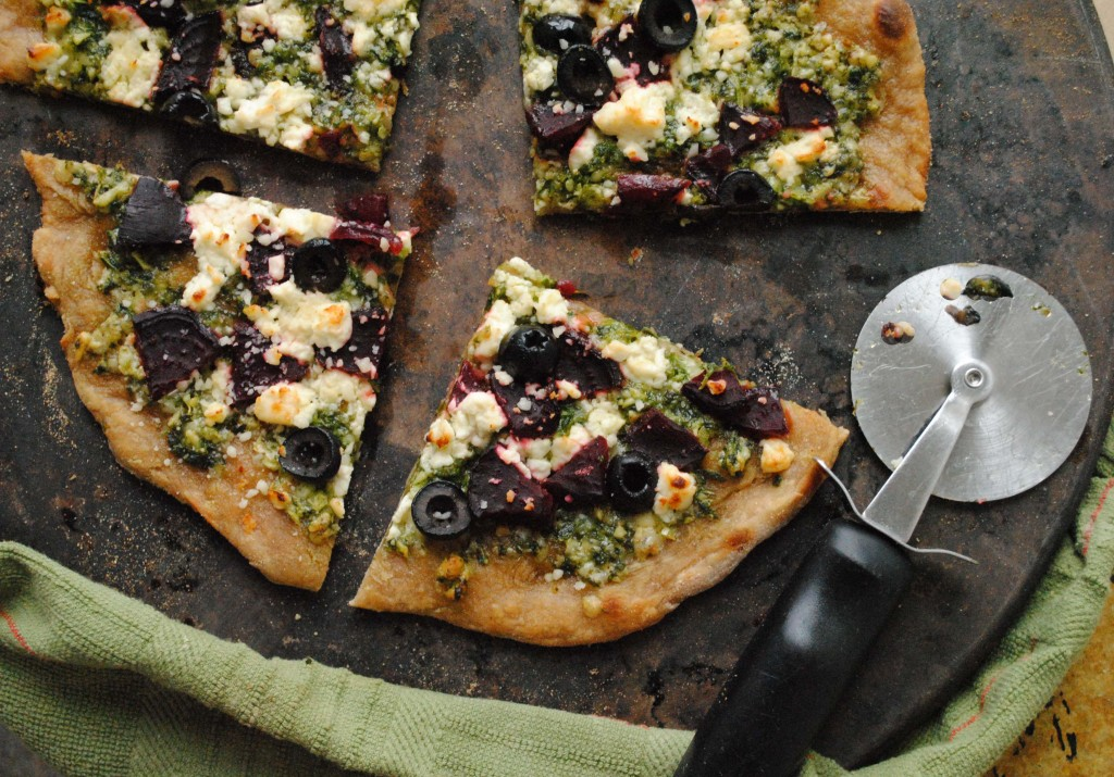Whole Wheat Winter Pizza with Arugula Pesto