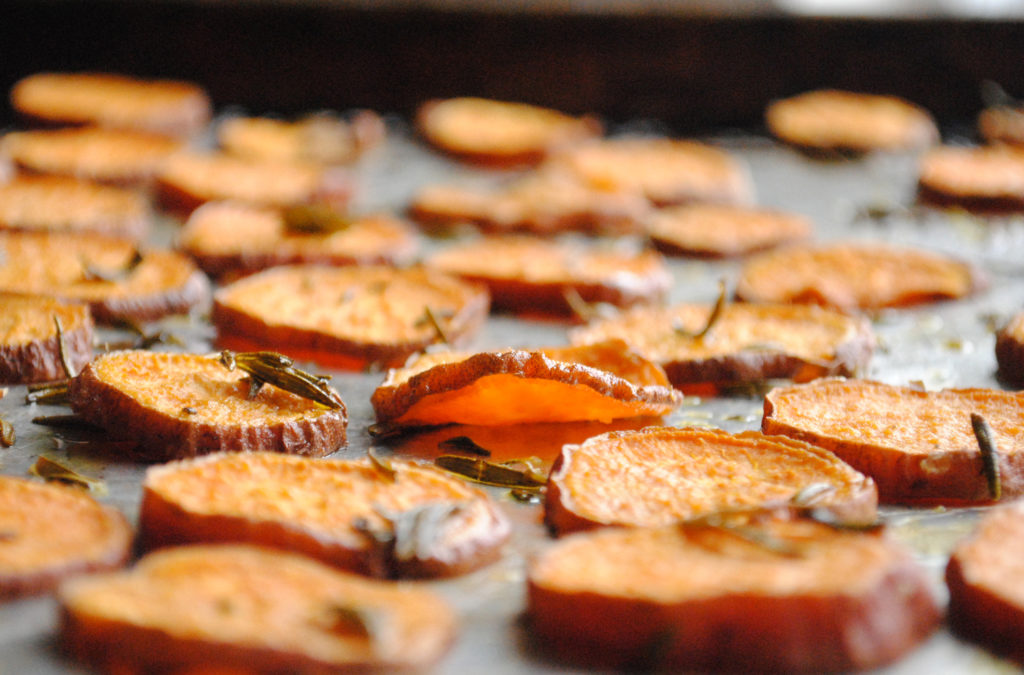 Garlic Rosemary Baked Sweet Potato Chips Recipes — Dishmaps