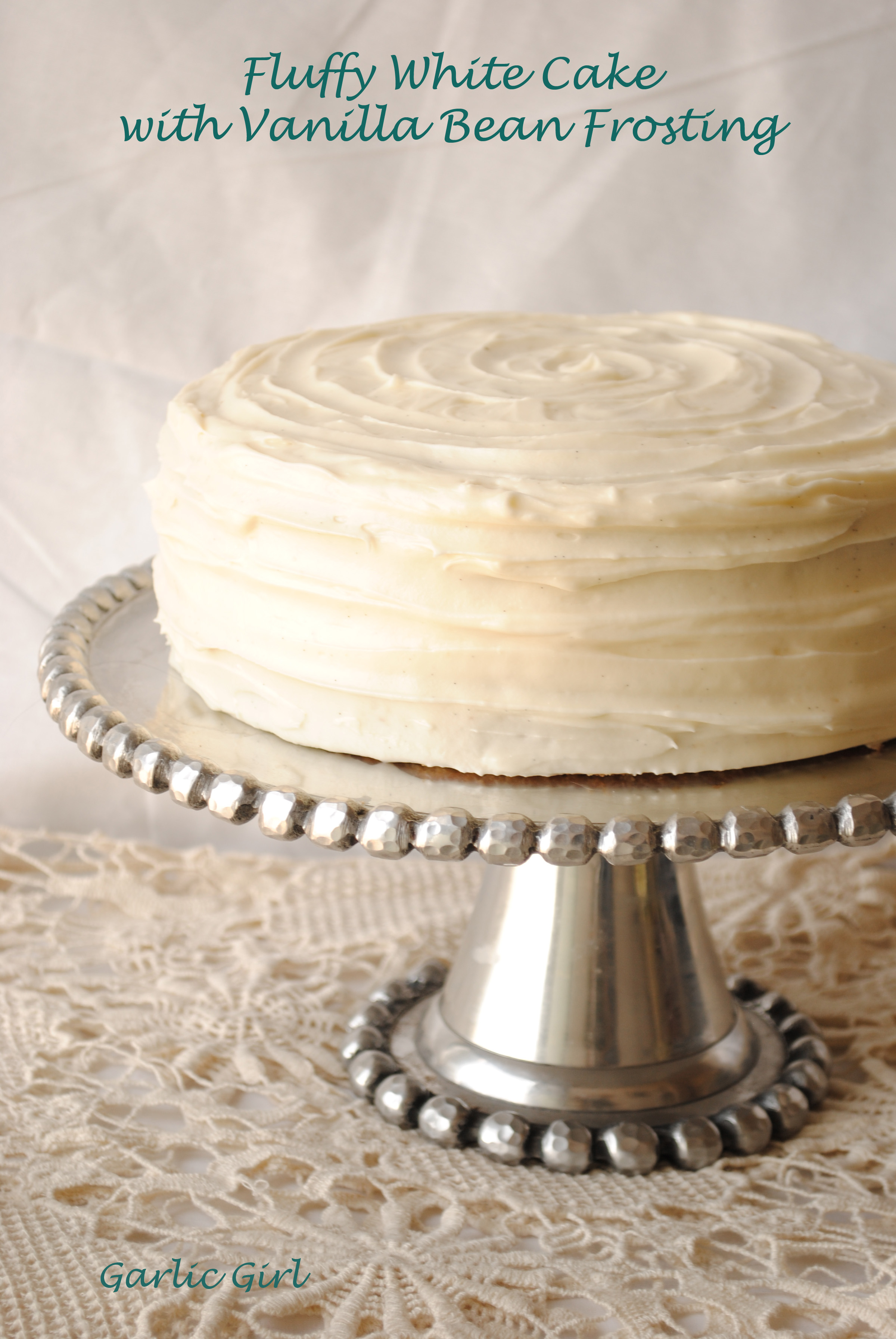 Fluffy White Cake with Vanilla Bean Frosting