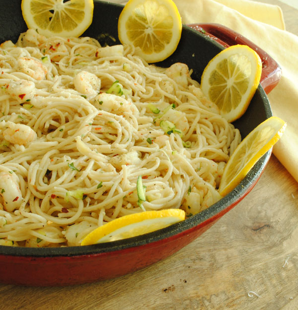 Shrimp, Lemon, And Herb Kamut Spaghetti Recipe — Dishmaps