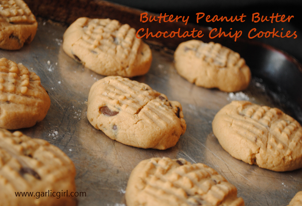 Buttery Peanut Butter Chocolate Chip Cookies