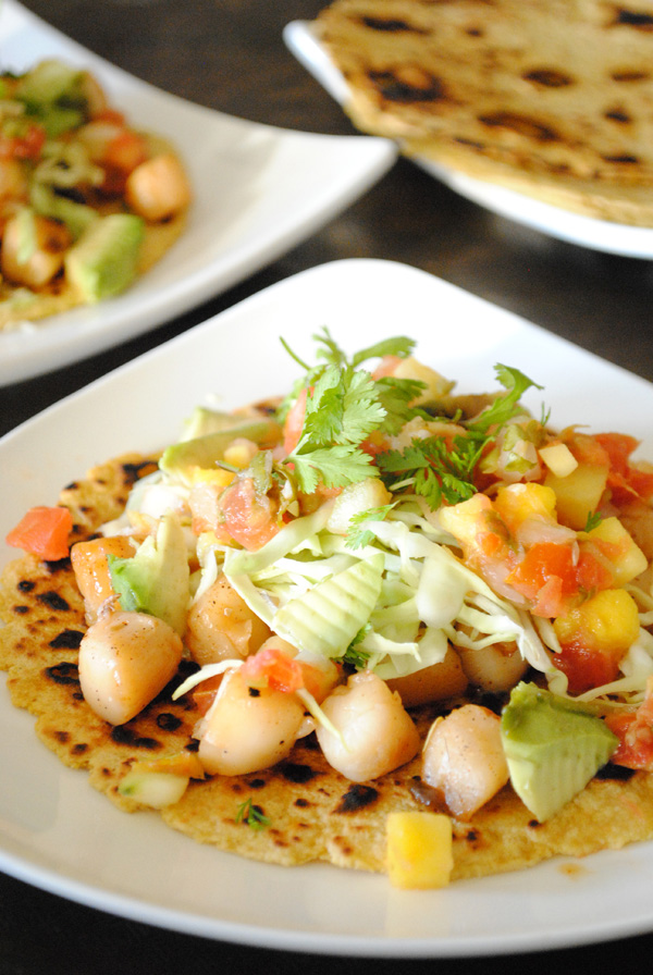 Spicy Scallop Tacos with Mango Salsa