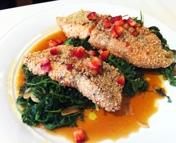 Sesame Crusted Salmon with Garlic Arugula