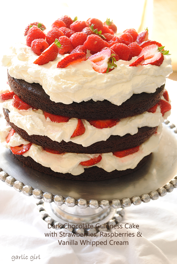 Dark Chocolate Guinness Cake with Berries & Whipped Cream