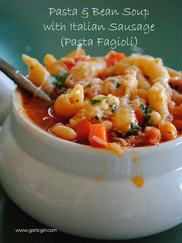 Pasta and Bean Soup with Italian Sausage (Pasta Fagioli)