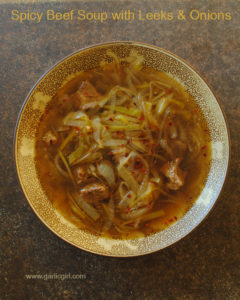 Spicy Beef Soup with Leeks and Onions