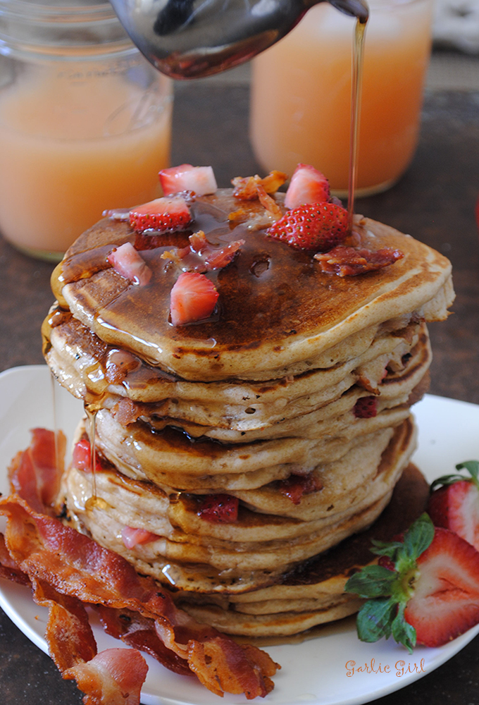 Bacon and Strawberry Stuffed Pancakes