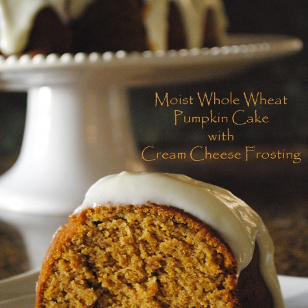 Moist Whole Wheat Pumpkin Cake with Cream Cheese Frosting