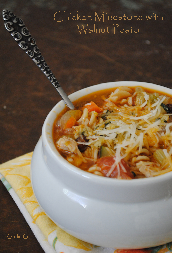 Chicken Minestrone with Walnut Pesto