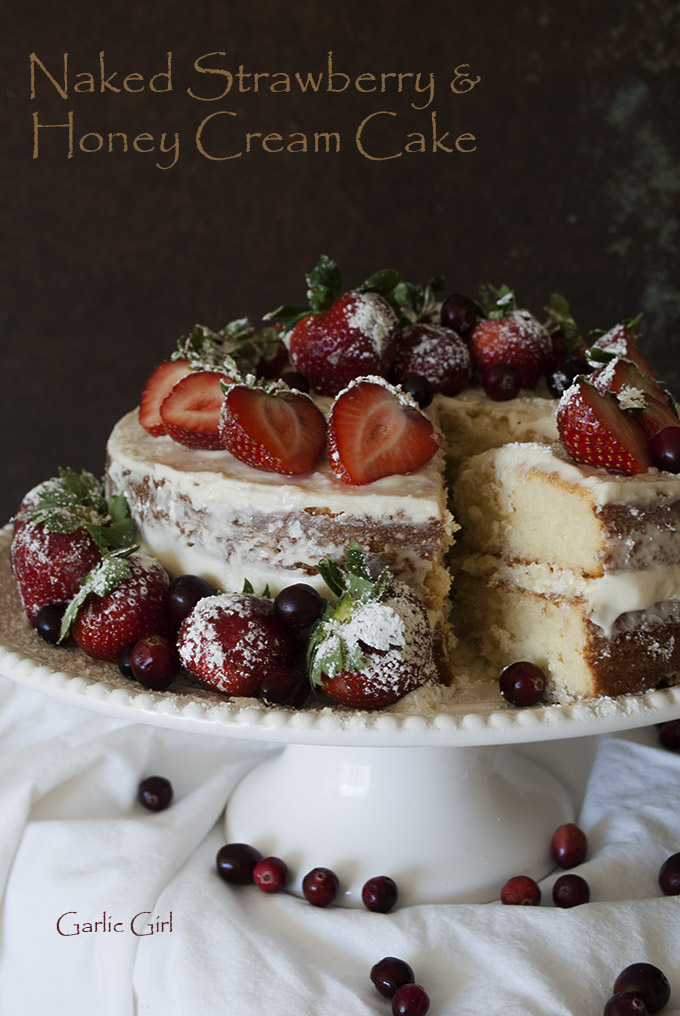 Naked Strawberry and Honey Cream Cake